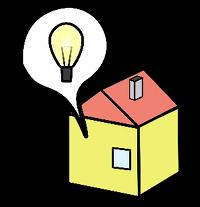 kuvituskuva, jossa talo ja hehkulamppu puhekuplassa
