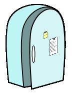 kuvituskuva, jossa jääkaappi