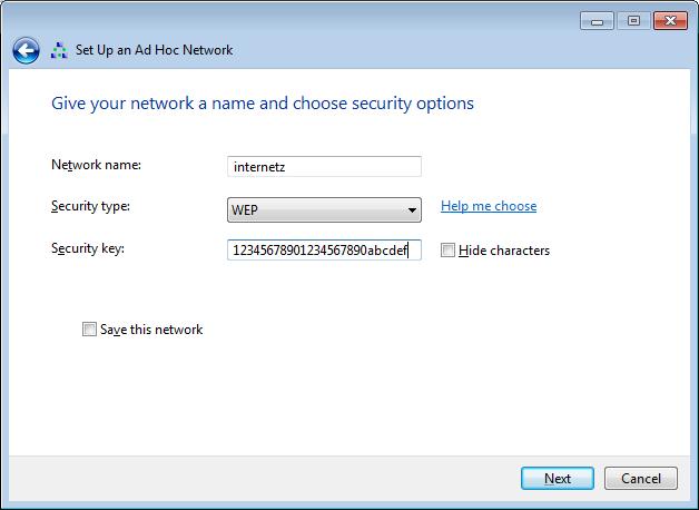 Tarvittavat asetukset: verkon nimi, WEP, 26 merkkiä pitkä salasana